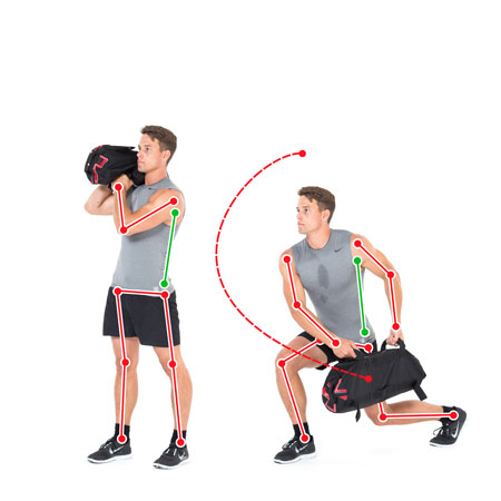 Sandbag dynamische Bein und Rumpfübung